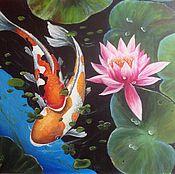 Картины и панно handmade. Livemaster - original item Painting with fish koi fish painting acrylic. Handmade.