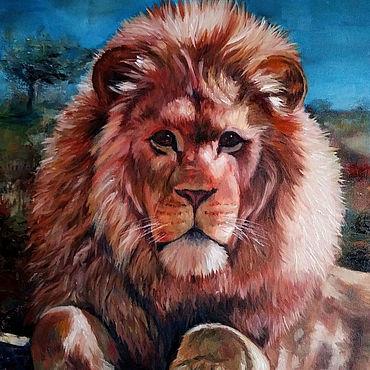 """Картины и панно ручной работы. Ярмарка Мастеров - ручная работа Картина: """"Лев"""", 40х50см. Handmade."""