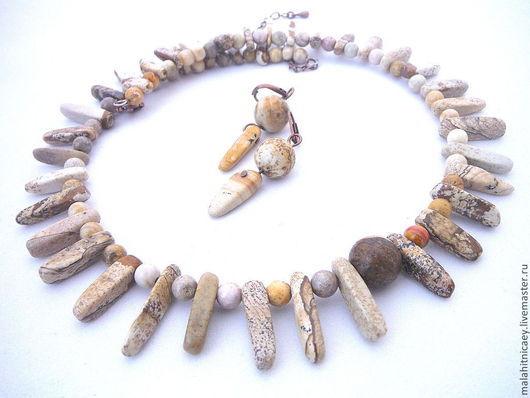 Комплект ожерелье и серьги Каменный век