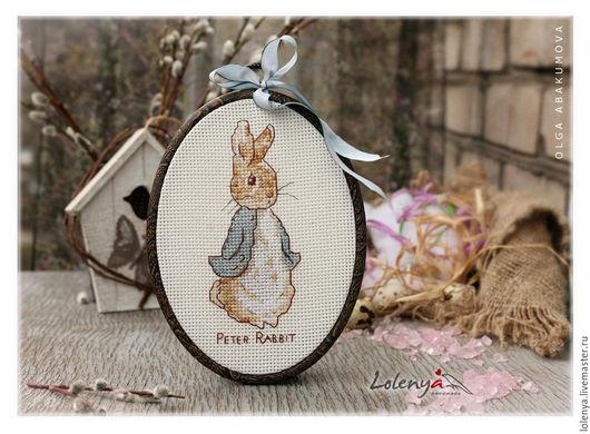 """Животные ручной работы. Ярмарка Мастеров - ручная работа. Купить Вышивка """"Peter Rabbit"""". Handmade. Голубой, Пасха"""
