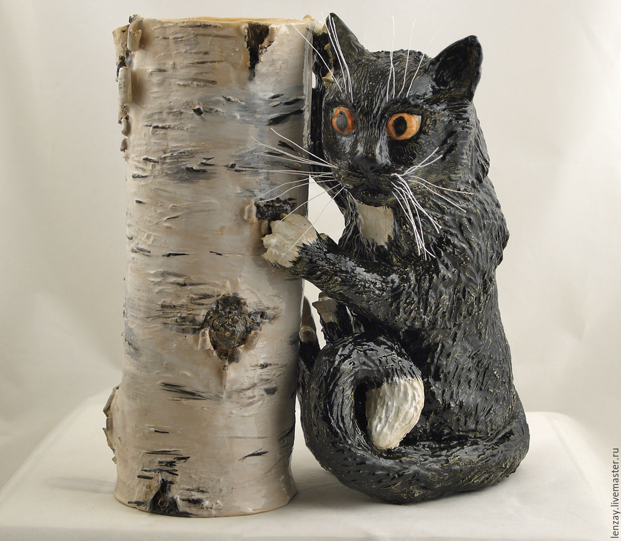 Vase for flowers - Kitty on birch, Vases, Moscow,  Фото №1