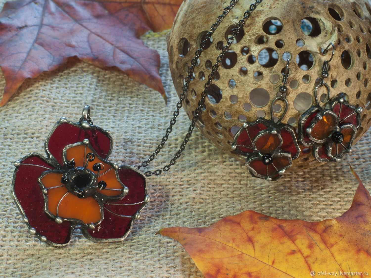 Set Floral. Earrings and Pendant with red poppy, Jewelry Sets, St. Petersburg,  Фото №1
