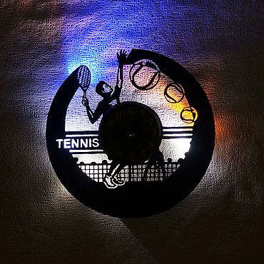 For home and interior handmade. Livemaster - original item Wall clock with led light from tennis plate. Handmade.