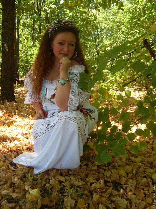 """Платья ручной работы. Ярмарка Мастеров - ручная работа. Купить летнее вышитое платье""""НЕЖНОСТЬ МАКОВ""""ручная вышивка. Handmade. Белый"""