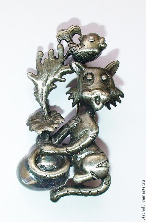 """Винтажные украшения. Ярмарка Мастеров - ручная работа. Купить Брошь """"Кот и Рыбка """" под олово, оргстекло (США). Handmade."""