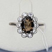Украшения handmade. Livemaster - original item Silver ring with 8h6 mm rauchtopaz and cubic zirconia. Handmade.