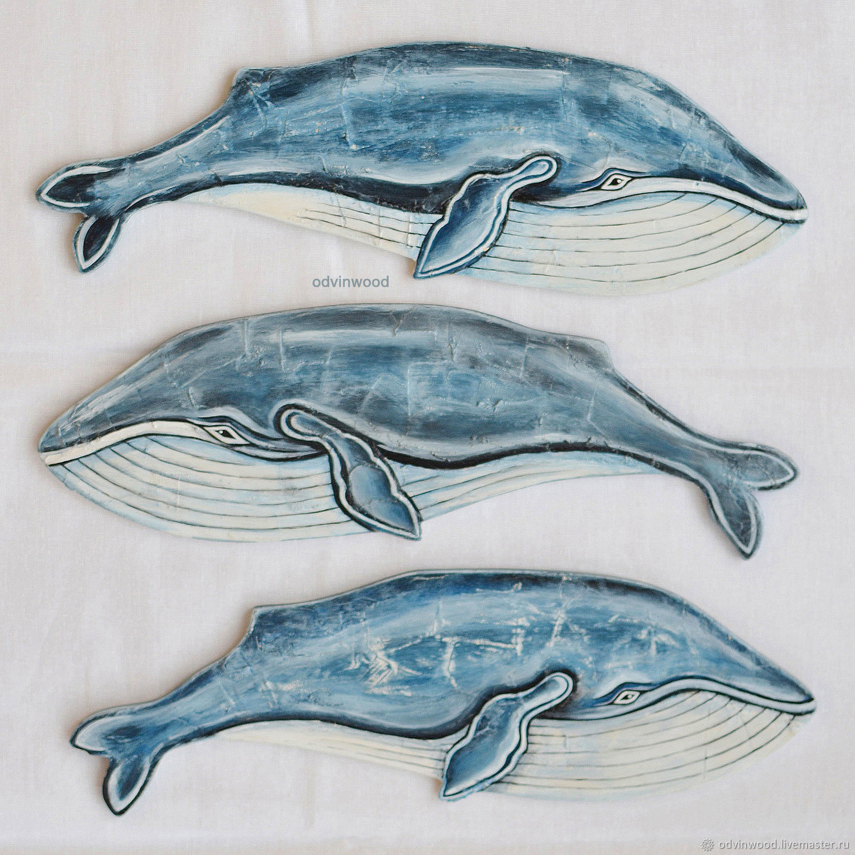 Кит из дерева на стену Голубой кит деревянный, Подвески, Псков,  Фото №1