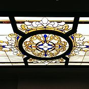 Для дома и интерьера handmade. Livemaster - original item Stained Glass Tiffany. Ceiling Tiffany stained glass, illuminated, in oak frame. Handmade.