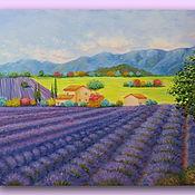 Для дома и интерьера handmade. Livemaster - original item Oil painting Provence Large painting 50\60cm lavender field. Handmade.