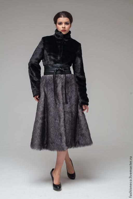Верхняя одежда ручной работы. Ярмарка Мастеров - ручная работа. Купить А006. Шуба комбинированная из меха под мутон и лисицу.. Handmade.