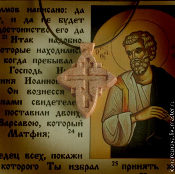`Сретение` - деревянный нательный крест из кипариса