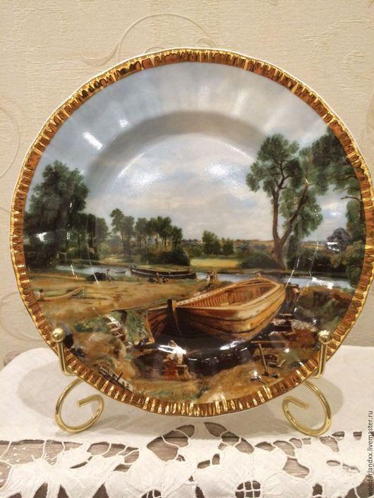 """Винтажные предметы интерьера. Ярмарка Мастеров - ручная работа. Купить Красивая коллекционная тарелка, Джона Констебла """"Постройка лодкиАнглия. Handmade."""