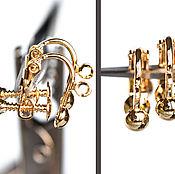 Материалы для творчества handmade. Livemaster - original item 2447_1п_ Clip to the ears of gold 10х13 mm, earring findings gold plated. Handmade.