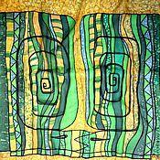 Аксессуары ручной работы. Ярмарка Мастеров - ручная работа Батик платок Изумрудный поцелуй. Handmade.