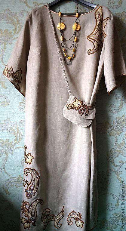 Платья ручной работы. Ярмарка Мастеров - ручная работа. Купить Льняное платье с аппликациями. Handmade. Платье, женское платье