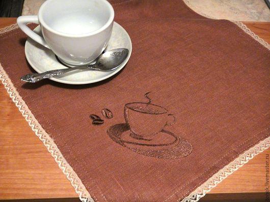 Текстиль, ковры ручной работы. Ярмарка Мастеров - ручная работа. Купить Салфетки на стол лен Кофе Подарок маме на новоселье Подарок женщине. Handmade.
