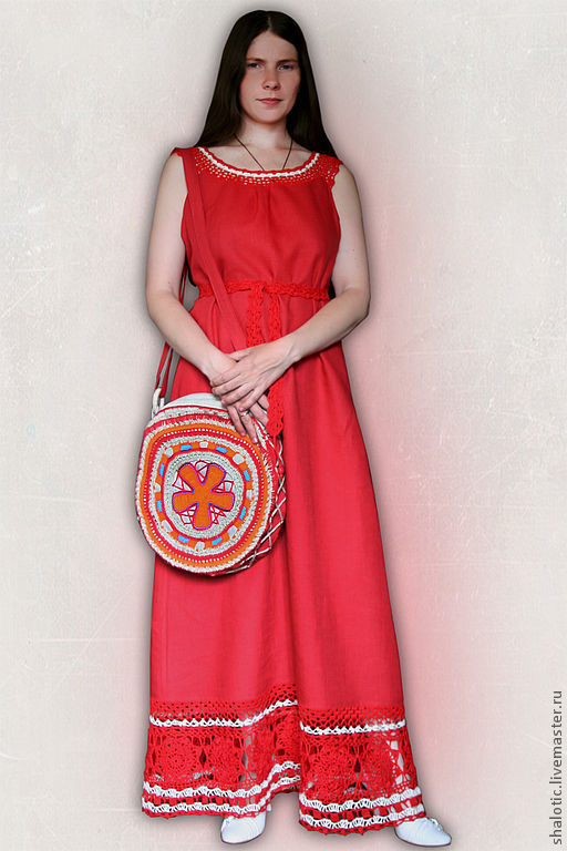 Льняной сарафан в пол, платье с кружевом, летнее платье ручной работы, автор Юлия Льняная сказка