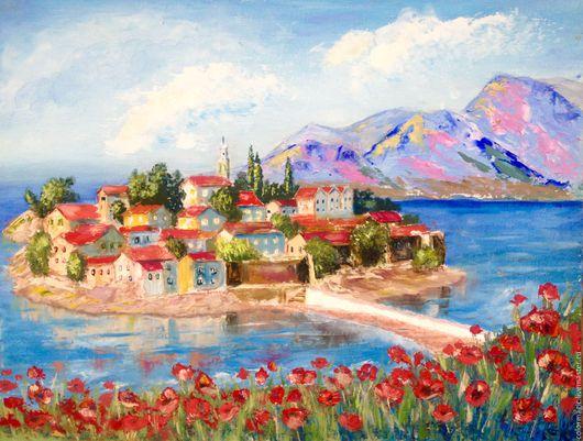 Пейзаж ручной работы. Ярмарка Мастеров - ручная работа. Купить Картина маслом Городок на острове морской пейзаж. Handmade. Голубой