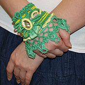 Украшения ручной работы. Ярмарка Мастеров - ручная работа Зеленый браслет-манжет. Handmade.