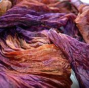 Аксессуары ручной работы. Ярмарка Мастеров - ручная работа шарф шёлковый оранжево каштановый с  фиолетовым жатый шёлк эксельсиор. Handmade.
