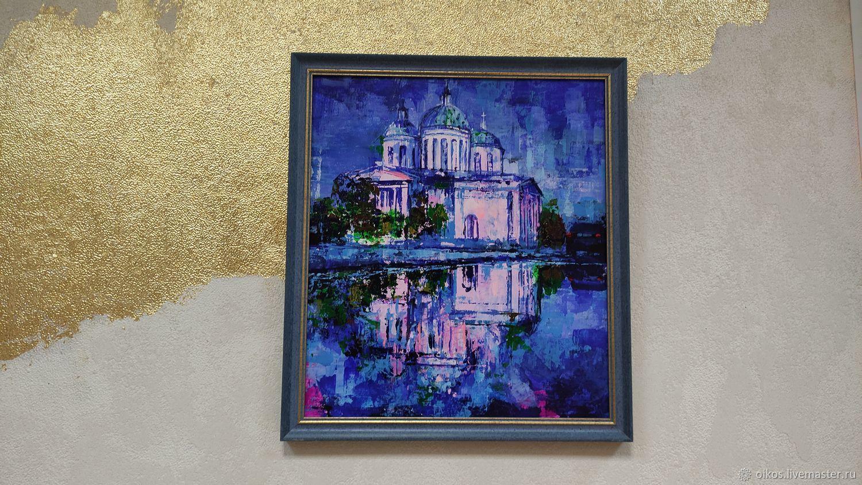 Картина церковь синие картины акрилом 35 на 40, Картины, Санкт-Петербург,  Фото №1