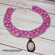 Necklace handmade. Livemaster - original item Knitted choker-collar with natural rose quartz