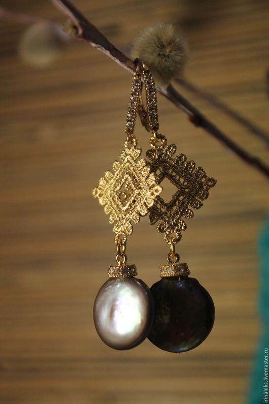 """Серьги ручной работы. Ярмарка Мастеров - ручная работа. Купить Серьги """"Верба"""". Handmade. Жемчуг барочный, жемчуг- монета"""