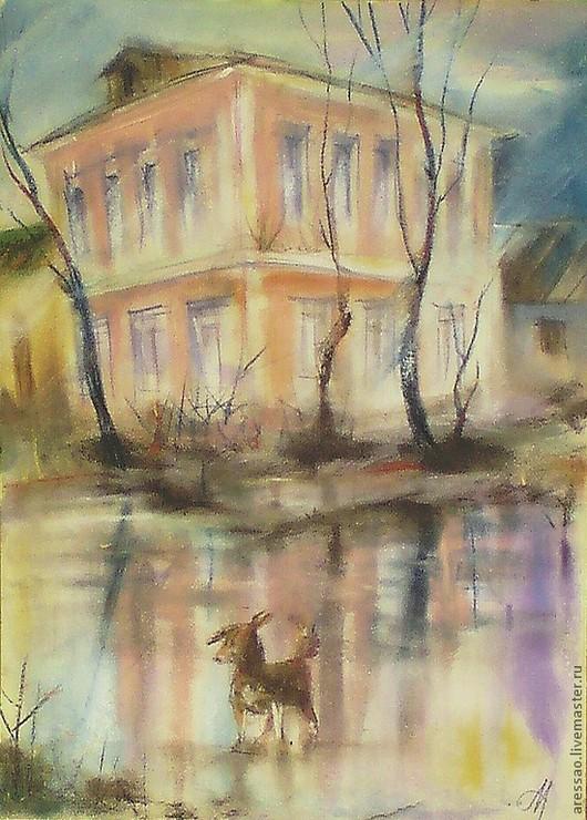"""Город ручной работы. Ярмарка Мастеров - ручная работа. Купить Картина """"Образцовый наугольный"""". Handmade. Город, животные, деревья, дома"""