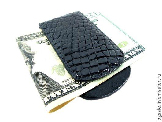 Купюродержатель из кожи крокодила. Зажим для денег из крокодила. Купюрница для денег из крокодила. Мужской зажим для денег. Прищепка для денег. Подарок мужчине. Кошелек из кожи крокодила.