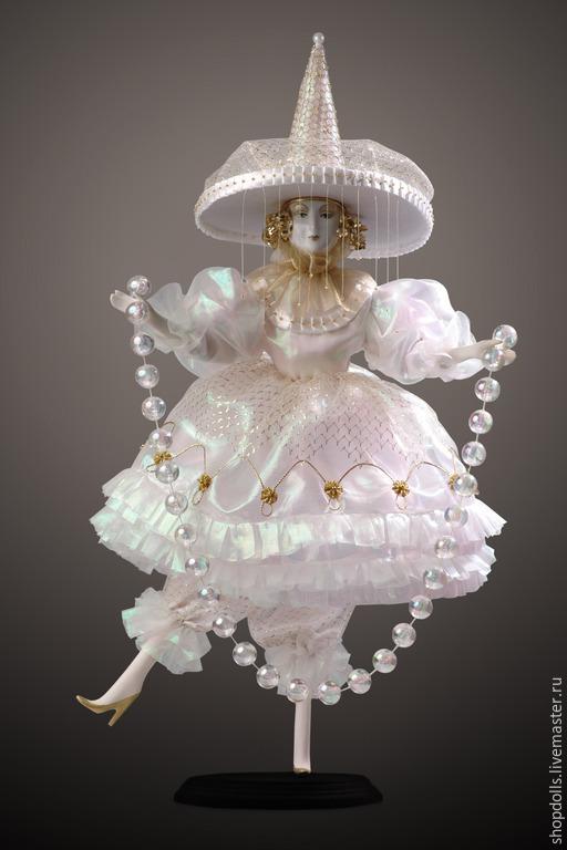 Коллекционные куклы ручной работы. Ярмарка Мастеров - ручная работа. Купить Коломбина Белая. Handmade. Белый, фарфоровая кукла