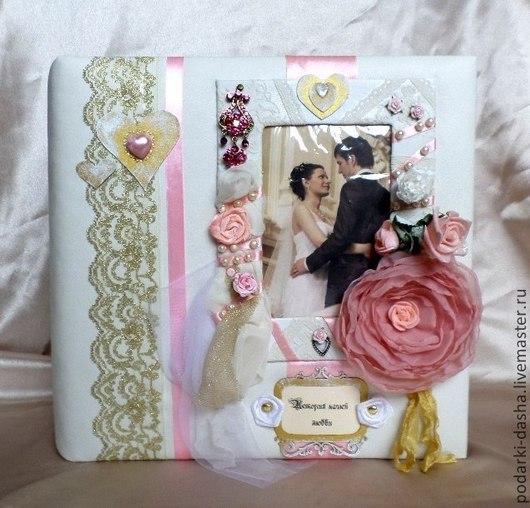 Свадебные фотоальбомы ручной работы. Ярмарка Мастеров - ручная работа. Купить Свадебный фотоальбом (декор обложки готового альбома). Handmade.