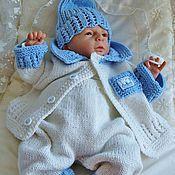 """Работы для детей, ручной работы. Ярмарка Мастеров - ручная работа Комплект для новорожденного """"Blue sky"""" 6в1. Handmade."""