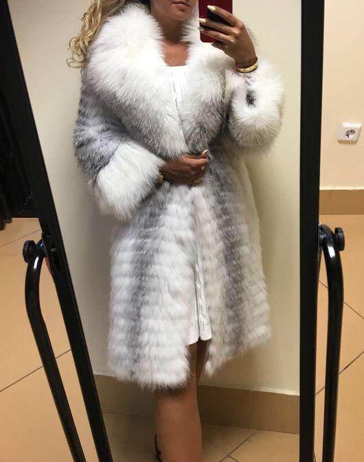 Верхняя одежда ручной работы. Ярмарка Мастеров - ручная работа. Купить Пальто из арктической лисы. Handmade. Шуба, шуба с капюшоном