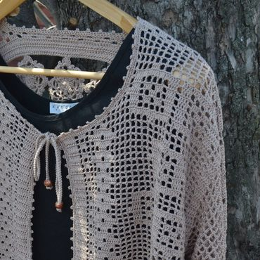 """Одежда ручной работы. Ярмарка Мастеров - ручная работа Кардиган вязаный """"В стиле бохо"""". Бежевый. Бохо стиль. Handmade."""
