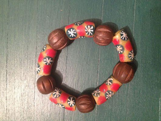 """Браслеты ручной работы. Ярмарка Мастеров - ручная работа. Купить Браслет """"Африканские снежинки"""".. Handmade. Комбинированный, браслет, африканское стекло"""