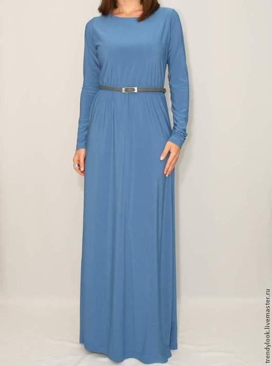 Платья ручной работы. Ярмарка Мастеров - ручная работа. Купить Платье в пол с длинным рукавом Джинсовый синий цвет. Handmade.