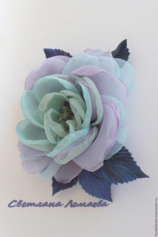 """Цветы ручной работы. Ярмарка Мастеров - ручная работа. Купить Шифоновая роза """"Миракли"""". Цветы из ткани.. Handmade. Роза-брошь"""