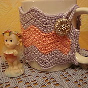 Для дома и интерьера ручной работы. Ярмарка Мастеров - ручная работа Вязаный чехол - грелка на чашку/кружку Утренний. Handmade.