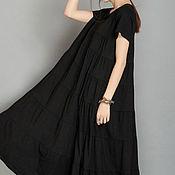 Одежда ручной работы. Ярмарка Мастеров - ручная работа Черное платье Длинное черное платье Черное хлопковое платье. Handmade.