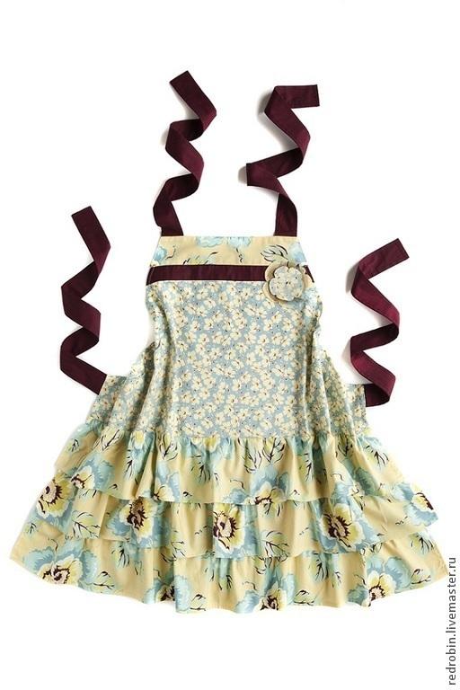 """Кухня ручной работы. Ярмарка Мастеров - ручная работа. Купить Фартук """"Фламенко Голубые цветы"""" для девочки. Handmade. Голубой"""