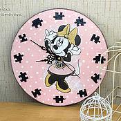 Для дома и интерьера handmade. Livemaster - original item Minnie Mouse clock, Disney clock, wooden clock, hand made decoration c. Handmade.