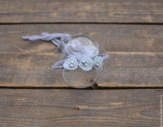 Диадемы, обручи ручной работы. Ярмарка Мастеров - ручная работа. Купить Повязка на голову для фотосессий  новорожденных с тремя цветочками. Handmade.