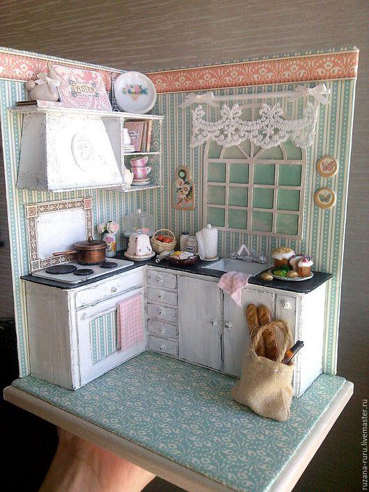 """Кукольный дом ручной работы. Ярмарка Мастеров - ручная работа. Купить Румбокс """"Пасхальная кухня"""". Handmade. Бирюзовый, миниатюра для кукол"""