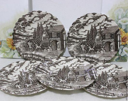 Винтажная посуда. Ярмарка Мастеров - ручная работа. Купить Десертные тарелочки, Англия, стаффордширский фарфор. Handmade. Коричневый, англия, хозяйке