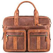 """Сумки и аксессуары handmade. Livemaster - original item Кожаная деловая сумка """"Гильермо"""" (рыжий крейзи). Handmade."""