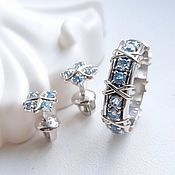 Украшения handmade. Livemaster - original item Set of stud earrings and a ring with topaz, silver, Tiffany (C4, K43). Handmade.