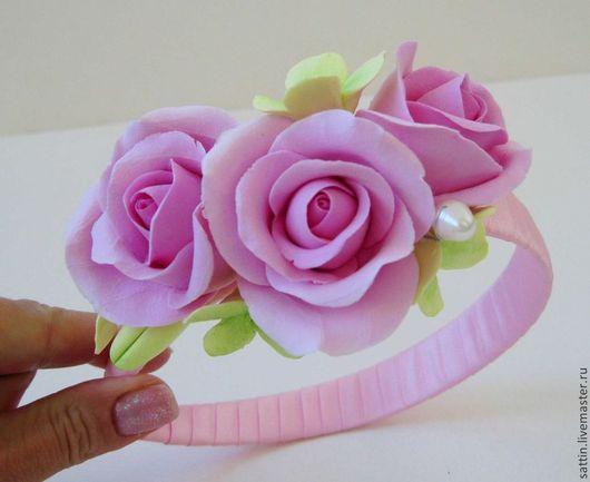 """Диадемы, обручи ручной работы. Ярмарка Мастеров - ручная работа. Купить Ободок """"Вся нежность розы"""". Handmade. Розовый"""