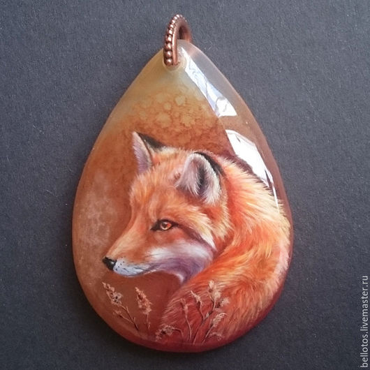 """Кулоны, подвески ручной работы. Ярмарка Мастеров - ручная работа. Купить Кулон """"Рыжий лис"""" - миниатюрная живопись на камне.. Handmade."""