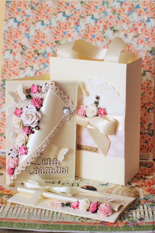Подарки на свадьбу ручной работы. Ярмарка Мастеров - ручная работа. Купить Подарок на свадьбу (открытка конверт для денег пакет) свадебный набор. Handmade.