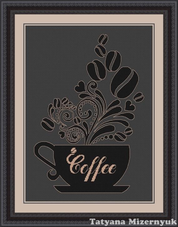 """Схема для вышивки крестиком """"Чашка кофе"""", Вышивка, Александров, Фото №1"""